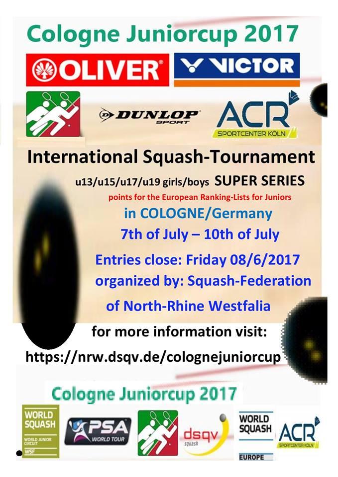 Cologne Junior Cup 2017 - Bild: Squash-Landesverband Nordrhein-Westfalen